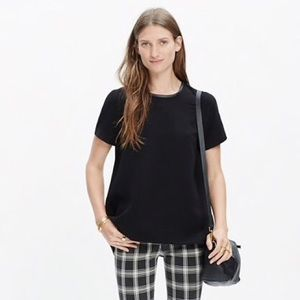 Madewell Leather Trim Tailored Tee